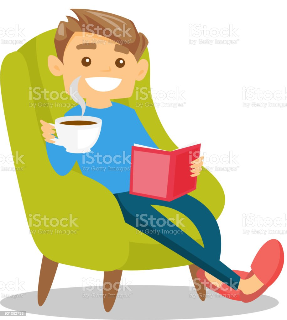 Young caucasian white man reading a book vector art illustration