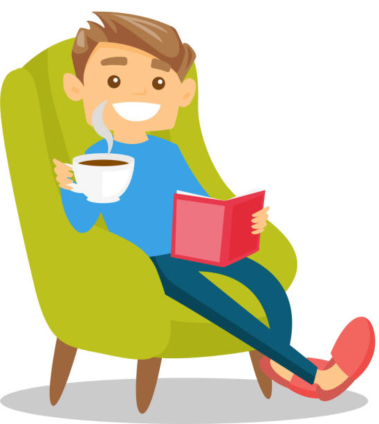 young caucasian white man reading a book - wypoczynek stock illustrations