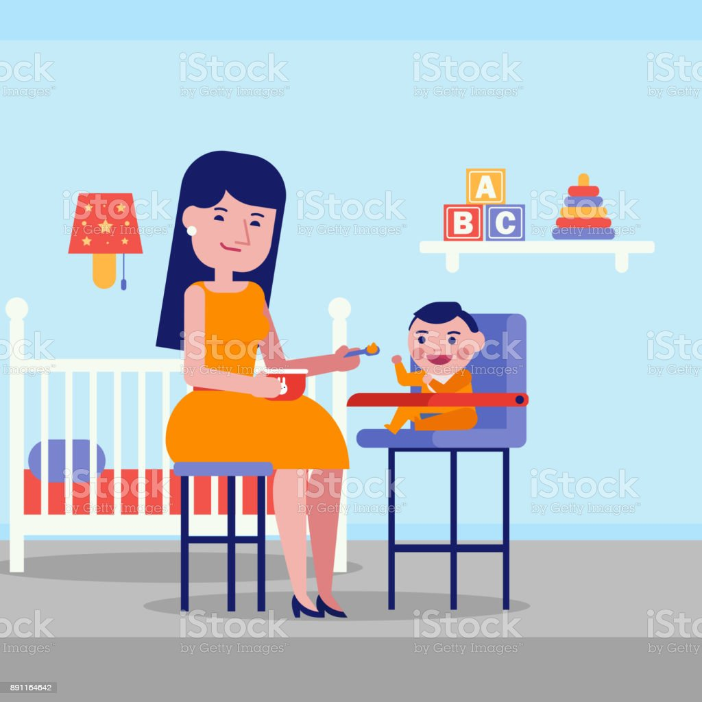 Young caucasian white mother feeding her baby vector art illustration