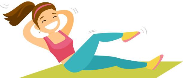 bildbanksillustrationer, clip art samt tecknat material och ikoner med unga kaukasiska vit kvinna gör crunches - gym skratt
