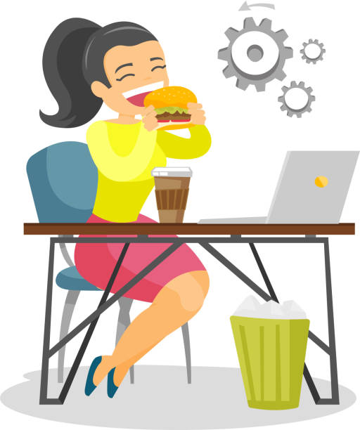 Young caucasian white woman eating hamburger Young caucasian white business woman sitting at the workplace with laptop and eating hamburger. Concept of unhealthy nutrition. Vector cartoon illustration isolated on white background. Square layout. female sandwich stock illustrations