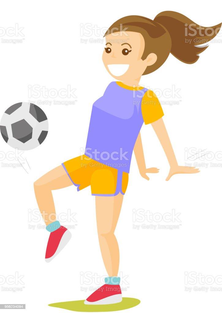 Kaukasische Weisse Madchen Fussball Spielen Stock Vektor Art