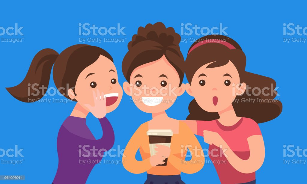 Young caucasian white women sharing gossips - Royalty-free Adult stock vector