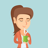 Pleased caucasian woman drinking hot flavored coffee. Young smiling woman holding a cup of coffee with steam. Woman enjoying coffee with closed eyes. Vector cartoon illustration. Square layout.