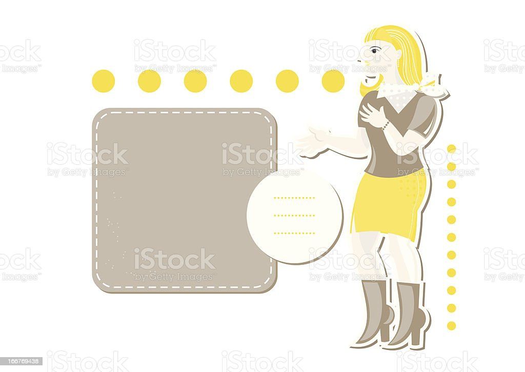young caucasian woman in yellow with blank frames royalty-free stock vector art