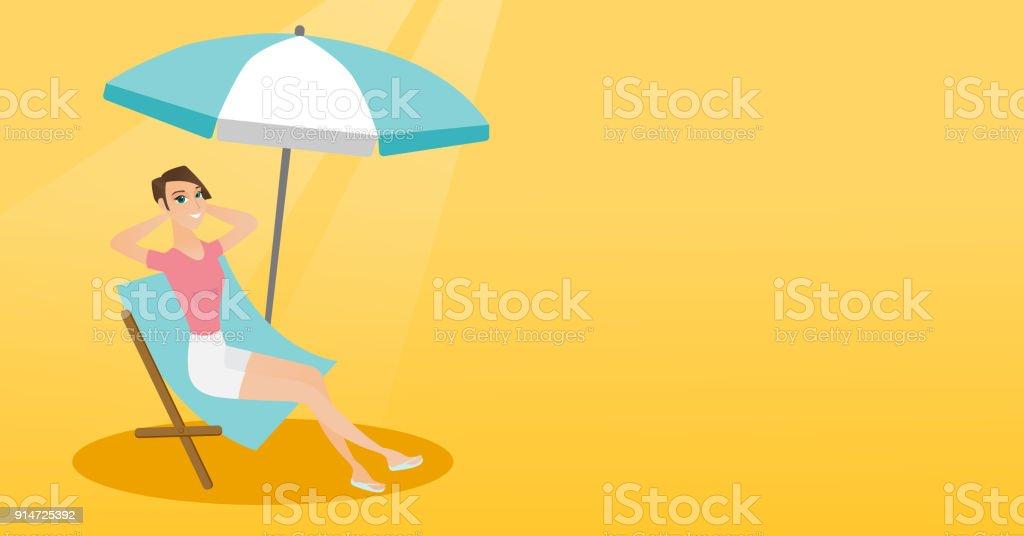 Strandkorb comic  Entspannen Sie Sich Auf Den Strandkorb Kaukasische Mädchen Stock ...