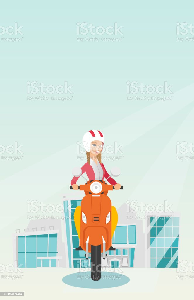 Young caucasian woman riding a scooter vector art illustration