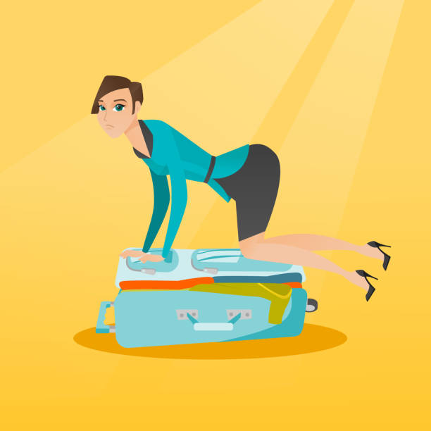Young caucasian woman trying to close suitcase Young caucasian white woman sitting on a suitcase and trying to close it. Frustrated woman having problems with packing a lot of clothes into a suitcase. Vector cartoon illustration. Square layout. stuffed stock illustrations