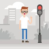Young character attracting attention on the pedestrian crossing / flat editable vector illustration, clip art