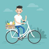 Young character delivering food by bicycle. flat editable vector illustration, clip art