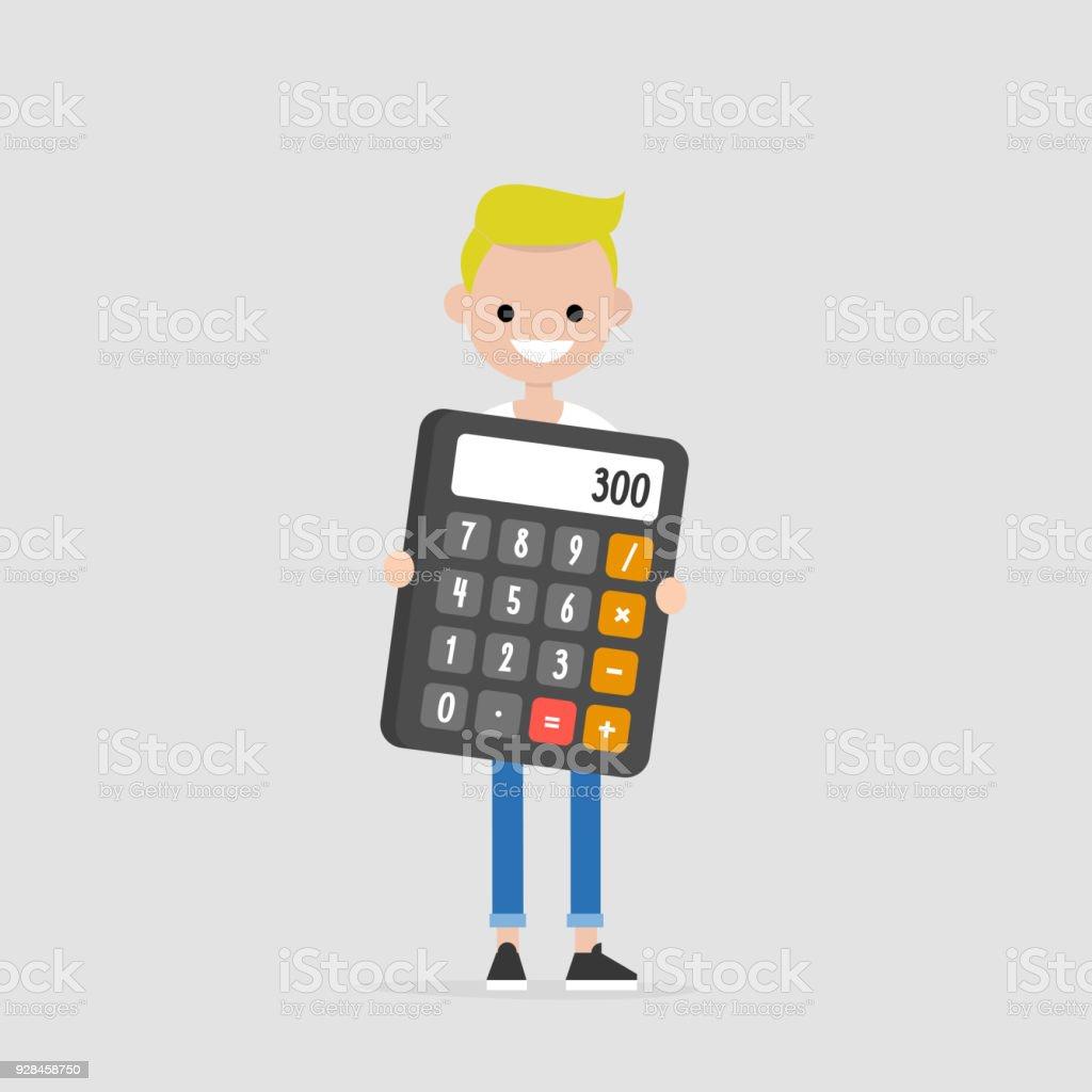 Joven Personaje Sosteniendo Una Calculadora Gigante Matemáticas ...