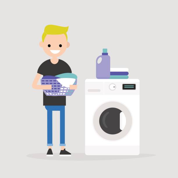 young character holding a laundry basket. laundromat. detergent. daily chores concept. flat editable vector illustration, clip art - washing machine stock illustrations, clip art, cartoons, & icons