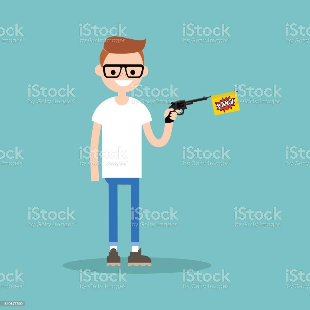 Joven personaje sosteniendo una pistola de juguete con una bandera de bang / plano editable vector Ilustración, imágenes prediseñadas - ilustración de arte vectorial