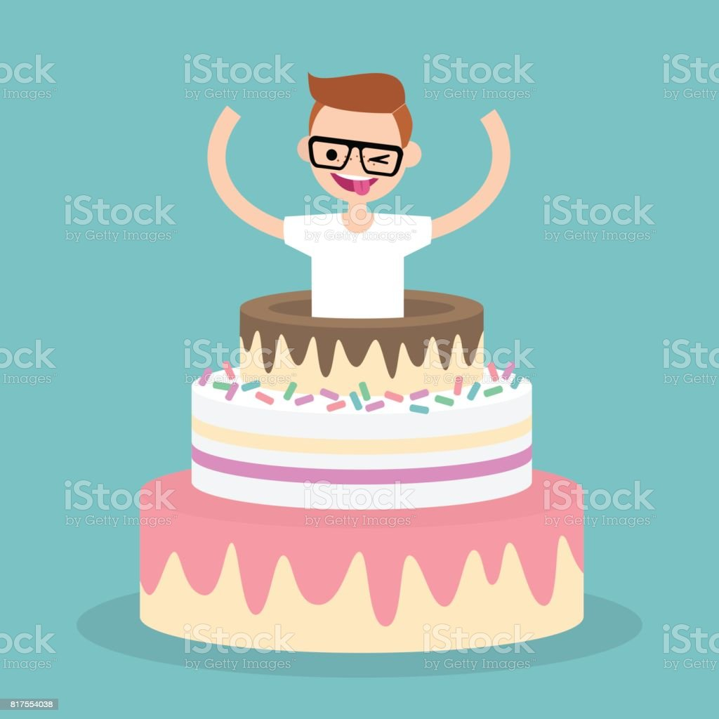 Young character jumping out of a cake / flat editable vector illustration, clip art vector art illustration