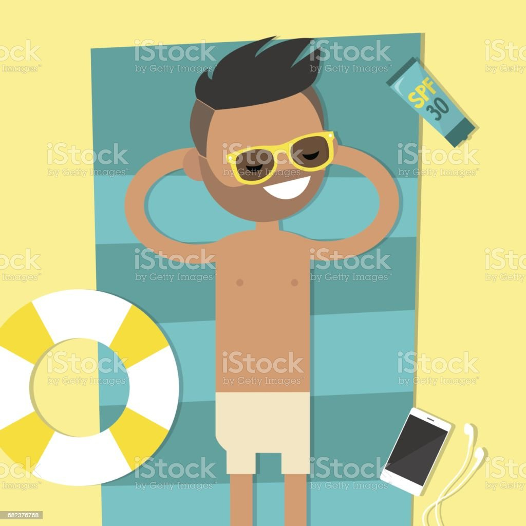 Young character lying on the beach. Top view / flat editable vector illustration, clip art young character lying on the beach top view flat editable vector illustration clip art - immagini vettoriali stock e altre immagini di abbronzarsi royalty-free