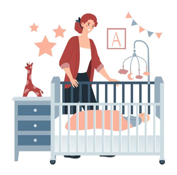 bildbanksillustrationer, clip art samt tecknat material och ikoner med ung karaktär mamma bära barnet i barn säng, mysigt rum isolerade i vitt, platt vektor illustration. kvinnan står och tittar på lilla barnet. - cosy pillows mother child