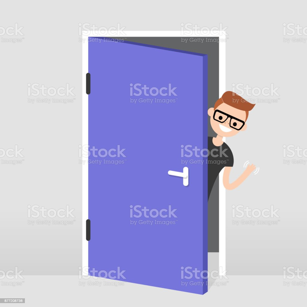 Young character peeking out from behind the door. Hello or Goodbye hand waving. Welcome home. Flat editable vector illustration, clip art vector art illustration
