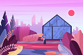Young character playing guitar, sitting in front of modern house. Luxury minimalistic contemporary building in evening fantasy colors park zone against with city bacground vector illustration