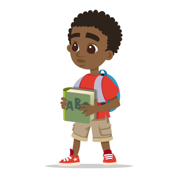 Standing Kids With School Bags Vector Drawing