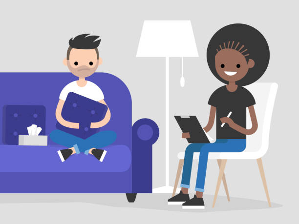 Young character visiting a psychologist doctor. Mental health care. Flat illustration. Patient sitting on a sofa and hugging a pillow. Young friendly doctor listening to a patient and making notes vector art illustration