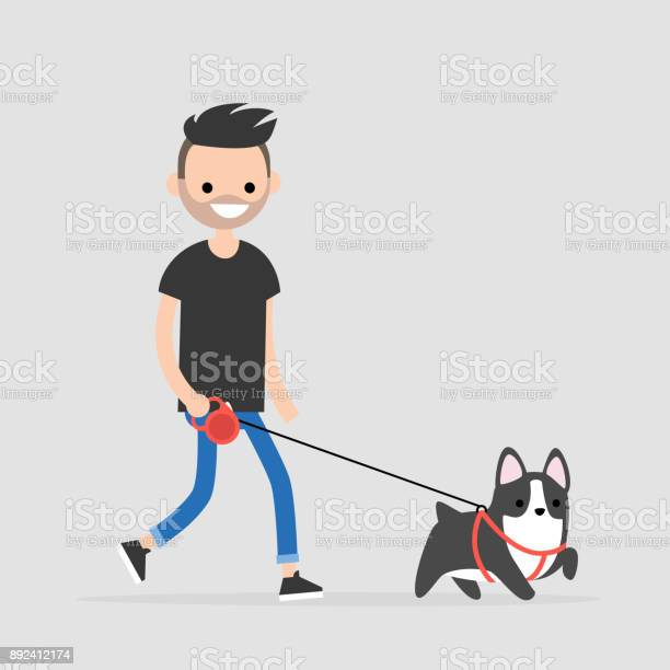 Young character walking a dog pet owner flat editable vector clip vector id892412174?b=1&k=6&m=892412174&s=612x612&h=qwwpirbbzqeudd2kvcdr3e1ac0kf7fme7l hscnh og=