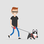 Young character walking a dog. Pet owner. Flat editable vector illustration, clip art