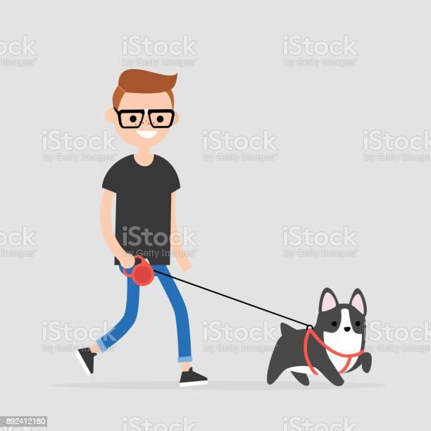 Young character walking a dog pet owner flat editable vector clip vector id892412180?b=1&k=6&m=892412180&s=612x612&h=8tayiwwdrze7qpigbxnhrysezoxh8efijtea7nqswdi=