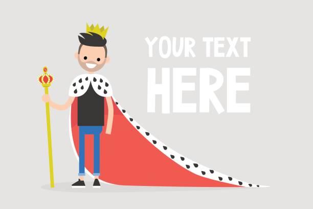 illustrations, cliparts, dessins animés et icônes de jeune personnage vêtu d'un manteau royal et une couronne / plat modifiable vector illustration, images clipart - sceptre