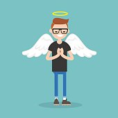 Young character wearing angel costume: nimbus and wings / flat editable vector illustration, clip art