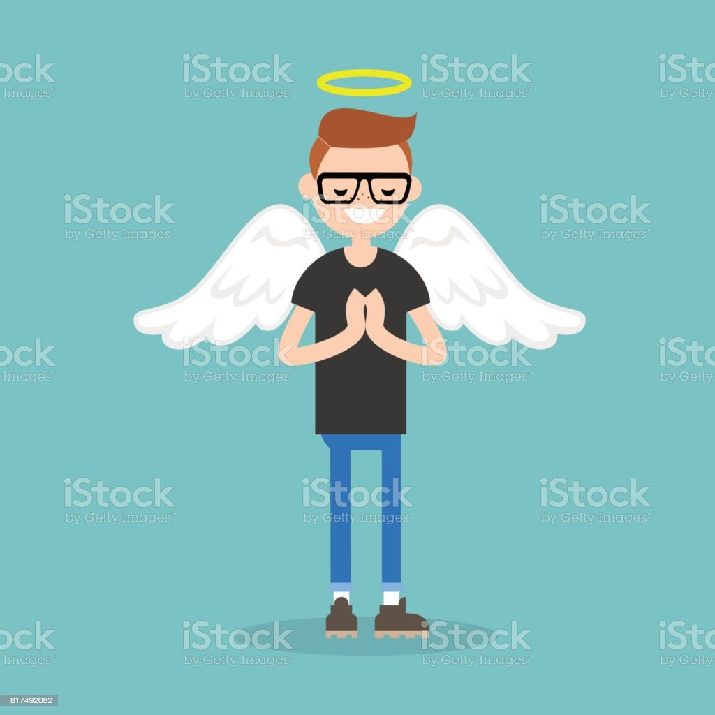 Young character wearing angel costume: nimbus and wings / flat editable vector illustration, clip art vector art illustration