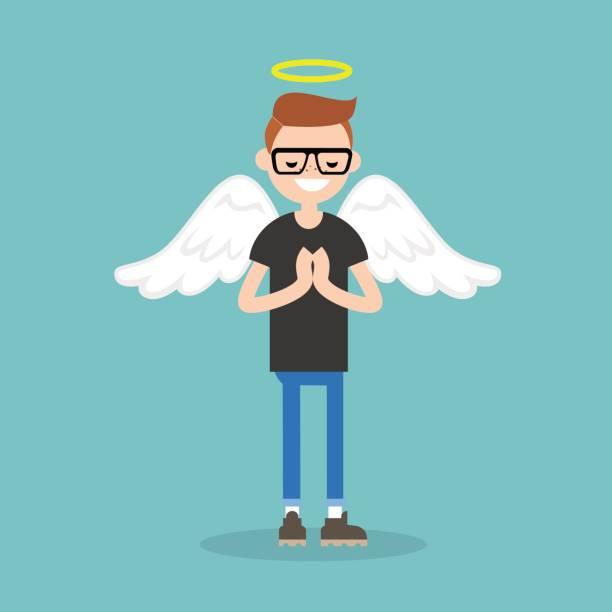 illustrazioni stock, clip art, cartoni animati e icone di tendenza di young character wearing angel costume: nimbus and wings / flat editable vector illustration, clip art - aureola