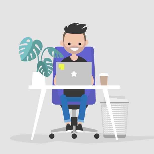 Carácter joven trabajando en la computadora portátil en la oficina. Interior. Vida diaria. Millennials en el trabajo. Ilustración de vector completamente editable, Prediseñadas - ilustración de arte vectorial