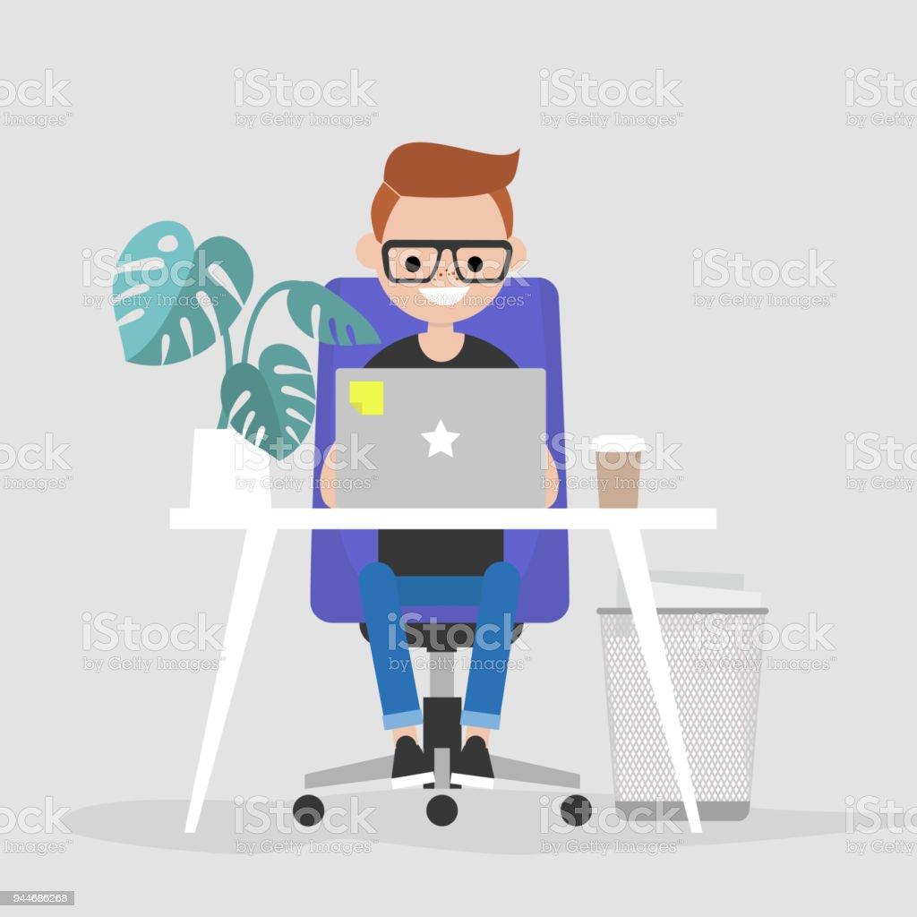 オフィスでラップトップに取り組んで若い文字インテリア毎日の生活仕事で