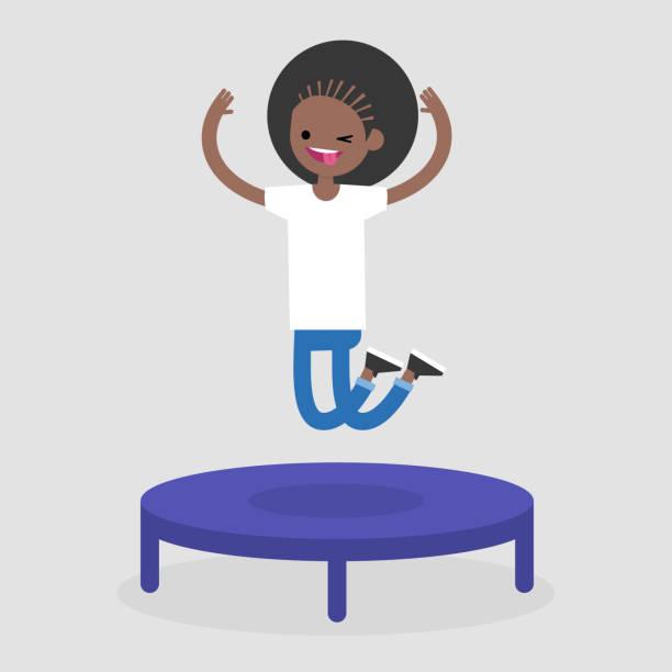 ilustraciones, imágenes clip art, dibujos animados e iconos de stock de carácter alegre joven saltando en el trampolín. ocio activo. ilustración de vector completamente editable, prediseñadas - emoji perezoso