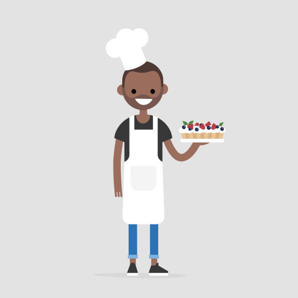 Young cheerful chief holding a berry cake. Bakery. Dessert. Restaurant. Gastronomy. Gourmet. Flat editable vector illustration, clip art Young cheerful chief holding a berry cake. Bakery. Dessert. Restaurant. Gastronomy. Gourmet. Flat editable vector illustration, clip art apron stock illustrations