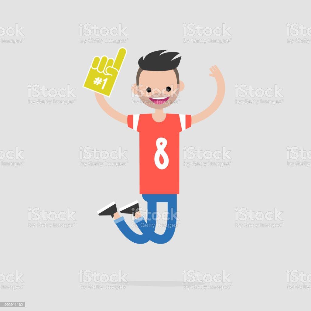 Junge Frohlich Fussballfans Feiern Den Sieg Flache