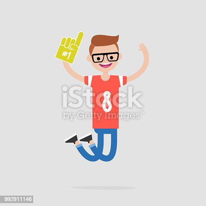 Young cheerful football fan celebrating the victory. Flat vector illustration, clip art