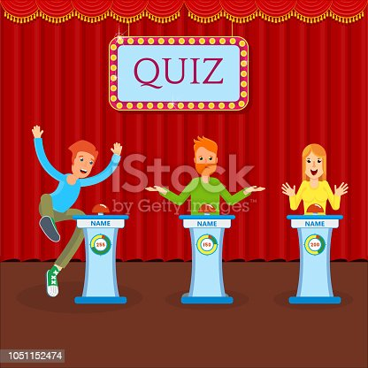 Young cheerful people participate in entertainment quiz. TV show or game in which participants or team respond to questions and guess riddles. Flat vector concept on stage with red curtains