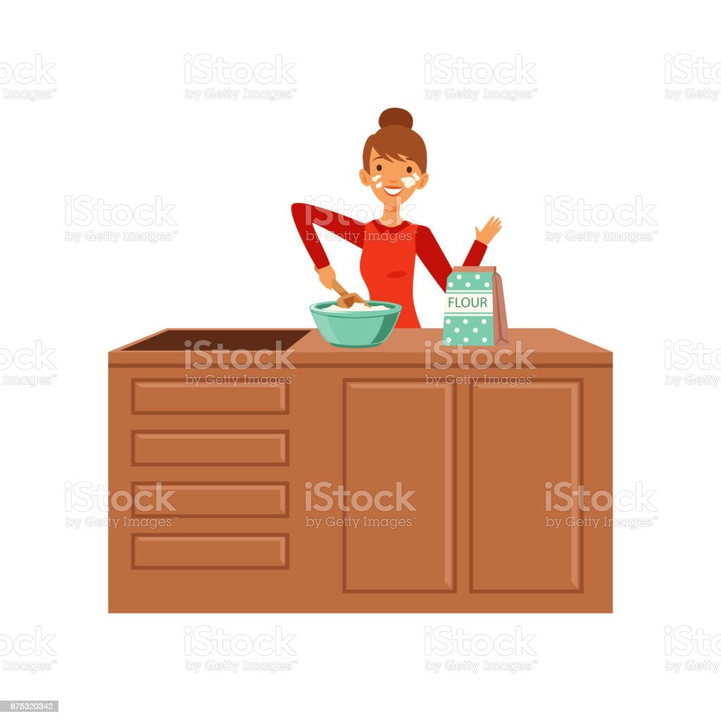 Young cheerful woman baking, housewife girl cooking food in the kitchen flat vector Illustration vector art illustration