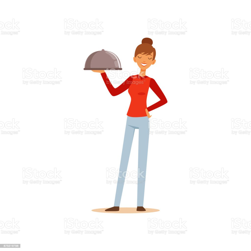 Young cheerful woman holding platter cloche, housewife girl cooking food in the kitchen flat vector Illustration vector art illustration