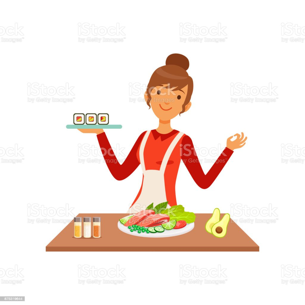 Young cheerful woman making sushi rolls, housewife girl cooking food in the kitchen flat vector Illustration vector art illustration