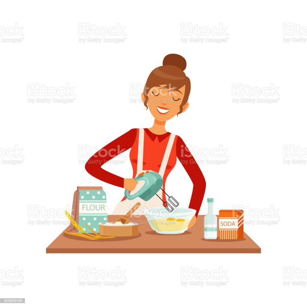 Young cheerful woman mixing dough with mixer, housewife girl cooking food in the kitchen flat vector Illustration vector art illustration