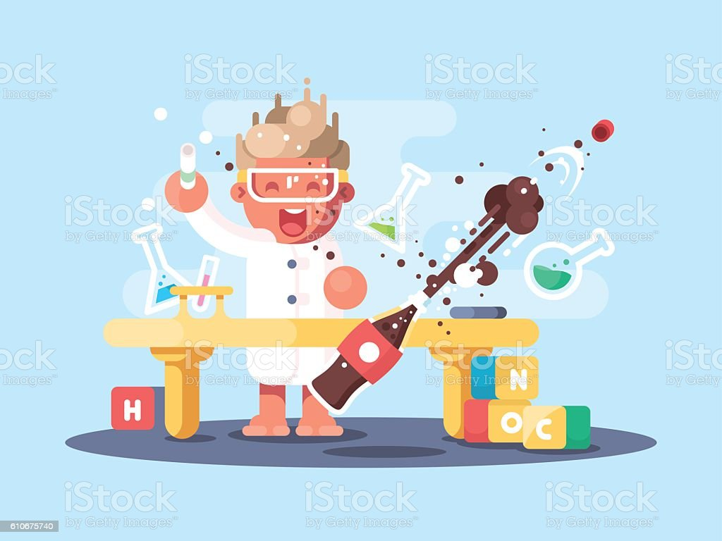 Young chemist characters vector art illustration