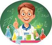 A cute little boy with a labcoat and glasses conducting an chemical experiment in front of a blackboard. EPS 10, grouped and labeled in layers.