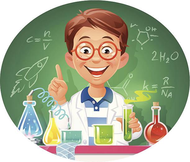 ilustrações, clipart, desenhos animados e ícones de jovem químico - aula de ciências