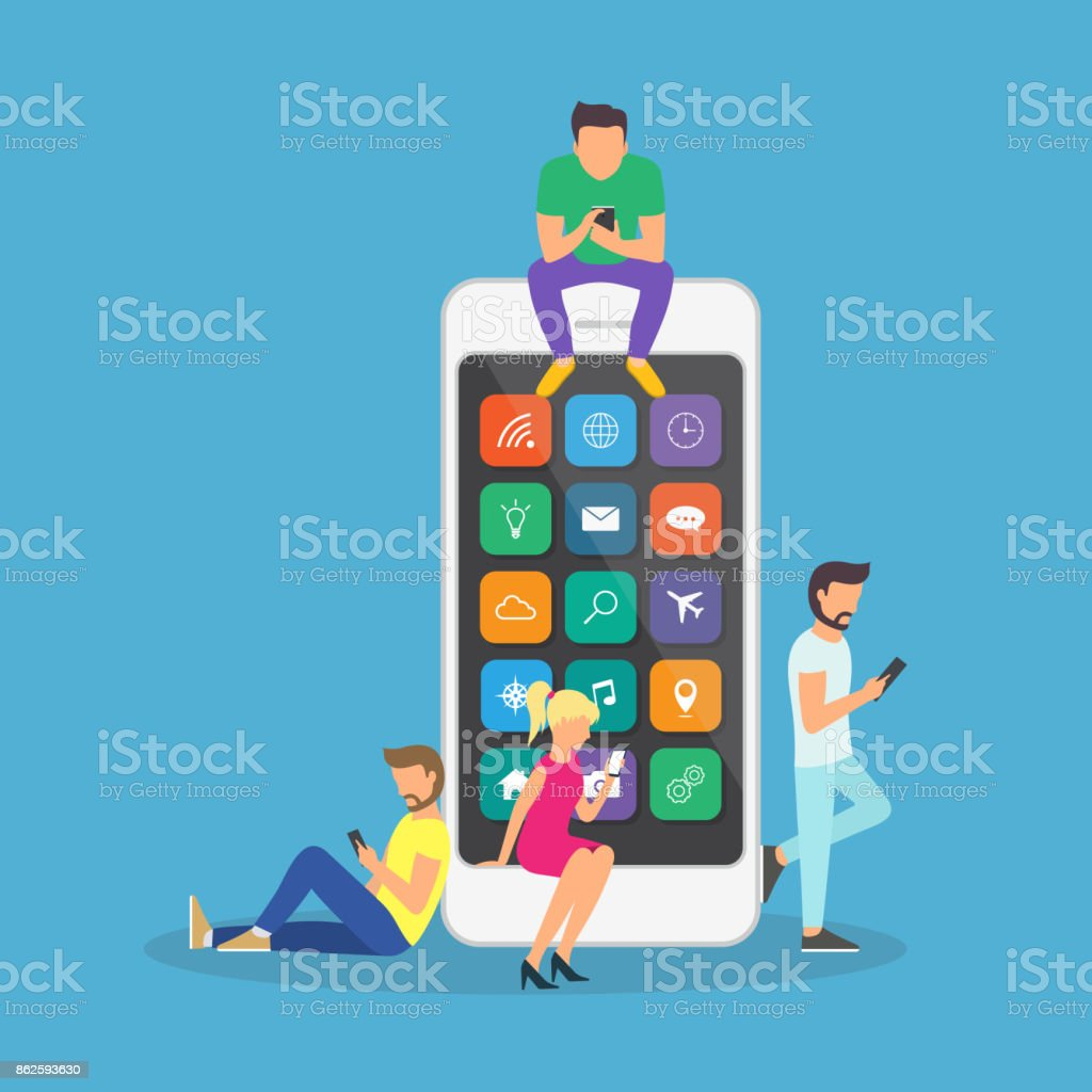 Young children are near a large smartphone and using phones to read news and communicate. vector art illustration