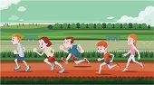 Young children running in out door
