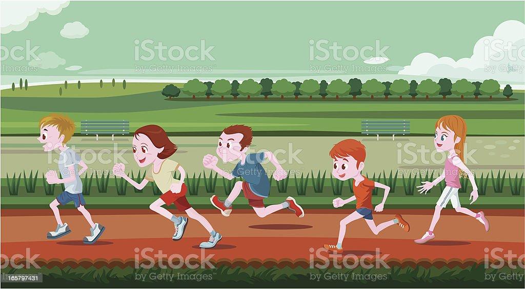 Jeunes enfants courir dans l'entrée - Illustration vectorielle