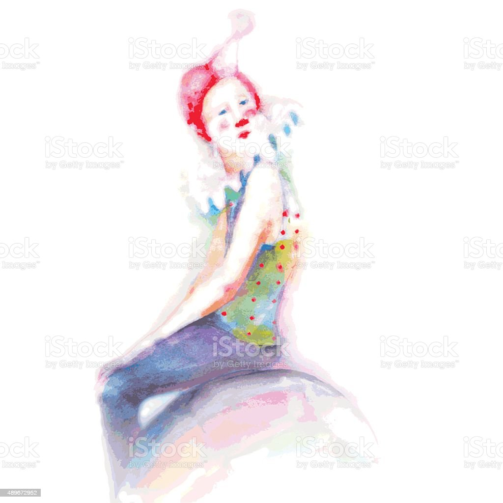 young clown in colorful costume vector art illustration
