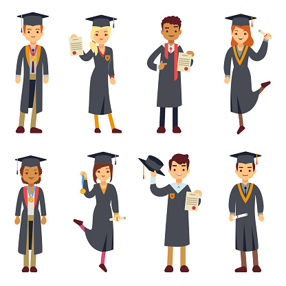 Young college graduate and university students vector characters set